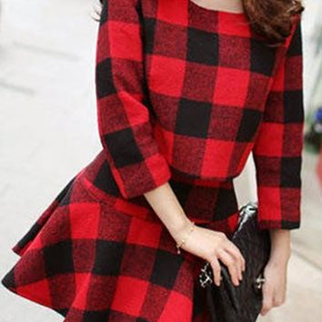 Streetstyle  Casual Red-Black Plaid Print Pleated Two Piece Cute Skater Flannel Mini Dress