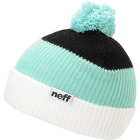 Neff Snappy White, Mint & Black Pom Beanie at Zumiez : PDP
