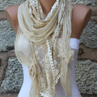 Light Yellow Scarf -  Cowl Scarf - Shawl- bridesmaid gift - fatwoman