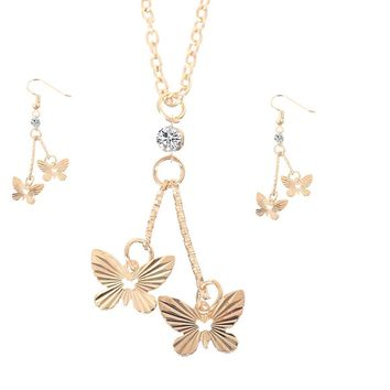 Gold Color Butterfly Dangle Pendant Necklace Earrings Jewelry Set