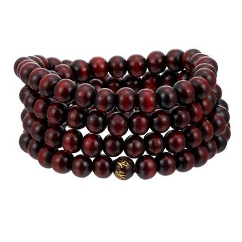 Natural Sandalwood Buddhist Buddha Meditation Wood Prayer Bead Mala Charm Bracelet Bangles 8mm 108 Beads Healing Fashion Jewelry