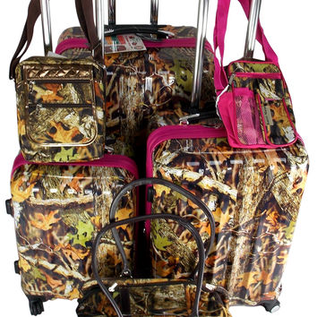 Luggage Real Tree Camo 6 Pc Travel Set 360 Spinner Messenger Gadget Pet Carrier