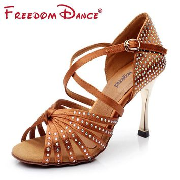 "Satin Upper Rhinestones Women's Latin Dance Shoes Ballroom Shoe Sandals 3.45"" Gold Heel Girls Zapatos De Baile Latino Black Tan"