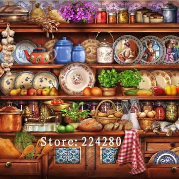 New Needlework,Embroidery,DIY DMC Retro Kitchen Shelf 14CT Unprinted Cross stitch kits,Art Scenery Pattern Cross-Stitching decor