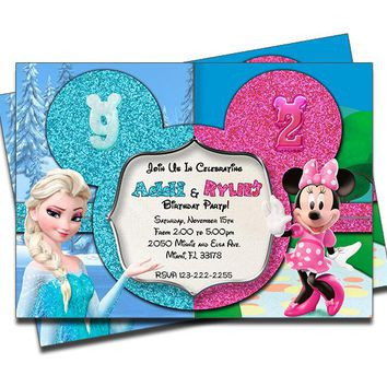 Disney Frozen and Minnie Mouse - Double Birthday Invitations