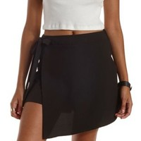 Black Tied Asymmetrical Wrap Skort by Charlotte Russe
