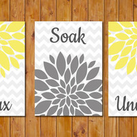 Flower Burst Yellow Grey Gray Wall Decor Spa Bathroom Relax Soak Unwind Set of 3- 5x7 DIY Printable Instant Download (117)