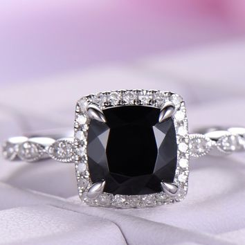 Cushion black spinel Engagement Ring Pave Diamond Wedding 14K White Gold 6.5mm