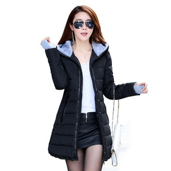 2016 Wadded Jacket Female New Women's Winter Jacket Down Cotton Jacket Slim Parkas Ladies Coat Plus Size S-XXXL TP0514