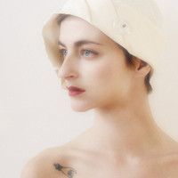 White Hat 1920's Flapper Style Hat
