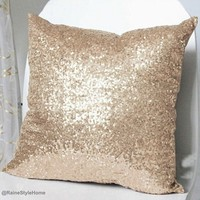 Luxury Champagne Sequins Embellished Pillow Cover. Christmas Cushion