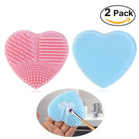 2 pcs Makeup Brush Cleaner Silicone Heart-shaped Brush Egg Washing Tool Pink Blue