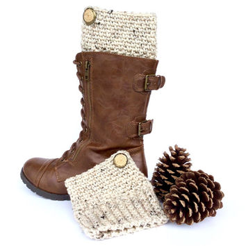 Speckled Oatmeal Colored Boot Cuffs | Neutral Tan Boot Toppers | Beige Boot Accessories | Women's Fall and Winter Fashion