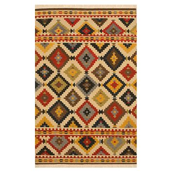 EORC Handwoven Wool Ivory Traditional Geometric Kilim Rug