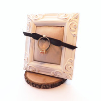 Ring Frame; Rustic Wedding Ring Holder; White Distressed Frame; Ring Safety & Protection; Valentine's Gift, Proposal Gift, Engagement Gift