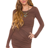 Flashback Wrap Dress - Taupe