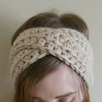 Pre Fall Sale,Beige Headband, Womens Turban, Teens, knit, crochet headband, hipster, handmade, gift, READY TO SHIP