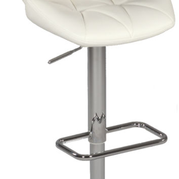 White Pneumatic Gas Lift Swivel Height Stool