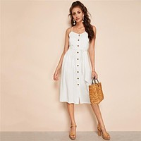 Boho Button Up Solid Cami Belted Dress Women Sexy Beach Vacation Sleeveless Spaghetti Strap White Midi Dress