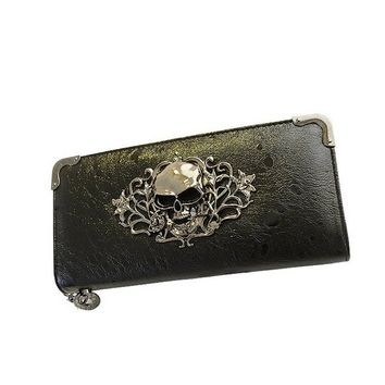 Men Women Skull Wallet Cool Retro Vintage Card Holder Clutch Bag Black
