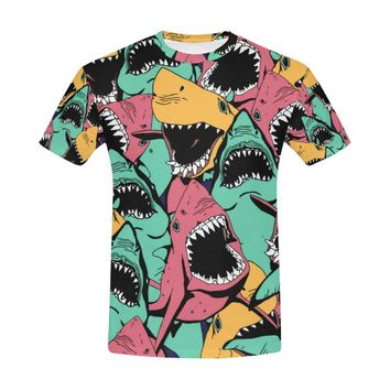 Angry Shark Seamless Pattern Sea Life All Over Print T-Shirt for Men (USA Size) (Model T40)