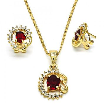 Gold Layered 10.160.0138 Necklace and Earring, with White Crystal and Garnet Cubic Zirconia, Polished Finish, Golden Tone