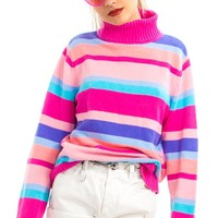 Vintage Y2K Chelsi Rainbow Knit Turtleneck - One Size Fits Many