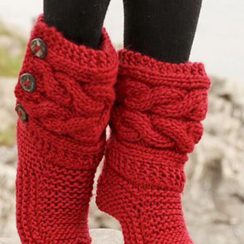 Valentine's Day Gift- Indoor Knitted Slippers, Knitted Boots, Women's Slippers, Christmas Slippers, Gestrickte Hausschuhe