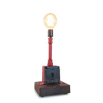 Red Industrial Pipe Lamp - Reclaimed wood & Plumber's Pipe, Modern Table Lamp, Rustic Light Fixture, Industrial Light