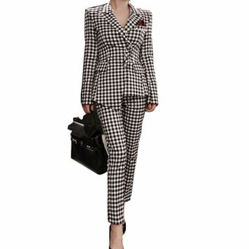 Womens Two Piece Pant Suits Women Casual Office Business Suits Formal Work Wear Sets Uniform Blazers Slim Plaid Pant Suits