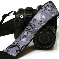 Floral Camera Strap. Black and Gray Camera Strap. Flowers Camera Strap. Canon Nikon Camera Strap. Electronics & Accessories