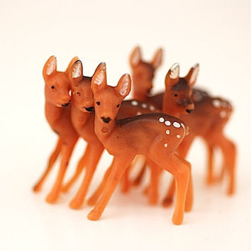 Mid Century Miniature Deer, Christmas Fawn, Woodland Decor For Doll House, Reindeer, Baby Fawn,
