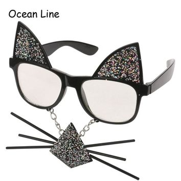 Funny Cat Costume Mask Novelty Glasses for Halloween Parties and Raves.