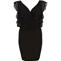 River Island Womens Black frill sleeve 2 in 1 dress
