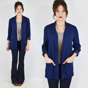 vtg 80s preppy navy blue NAUTICAL sailor slouchy OVERSIZED BOYFRIEND long blazer jacket S M L