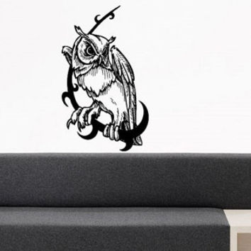 Wall Decor Vinyl Sticker Room Decal Art Tribal Siting Owl Bird Hood Bedroom 704