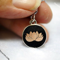 Hand Engraced Lotus Flower Necklace  Lotus Necklace