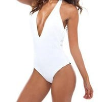 Embossed Rose Deep V One Piece Swimsuit by Nicolita