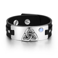 Celtic Triquetra Knot Magic Powers Amulet Tag Blue Simulated Cats Eye Adjustable Black Leather Bracelet