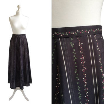 Vintage Maxi Skirt - 70's Skirt - Evening Skirt - Long Charcoal Grey Black Floral Skirt - Semi Sheer Black Skirt - XS Small