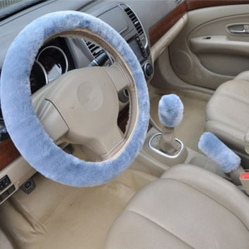 Winter artificial wool plush car cover steering wheel cover plush set handbrake cover car imitation fur steering wheel set = 1931828804