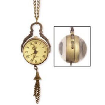 Burnished Gold Metal Sphere Watch Long Necklace