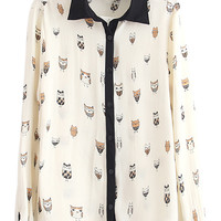 Cartoon Owl Print Chiffon Shirt with Contrast Black Collar - Choies.com