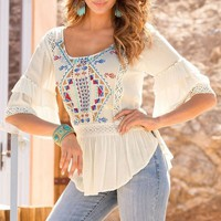 Stylish Scoop Collar 3/4 Sleeve Printed Asymmetrical Blouse For Women
