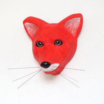 Paper Mache Mr. Fox with the green eyes, art sculpture