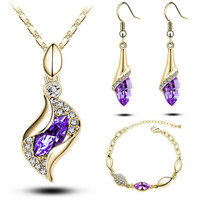 18k Rose Gold Plated Colorful Austrian Crystal Drop Jewelry Sets