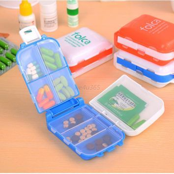8Slots Plastic Pill Medicine Tablet Divider Box Case Container Storage Organizer