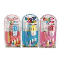 Stationeries Suites Injector Pattern Mechanical Pencil + Capsule Pattern Ball Pen + 3 Capsule Pattern Erasers