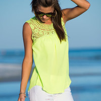 Lace Your Love Tank, Neon Lime