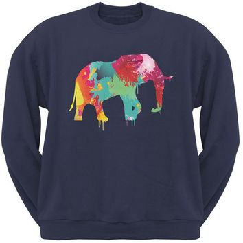 DCCKJY1 Splatter Elephant Navy Adult Sweatshirt
